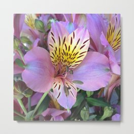 Tiger in the Garden | Whispering Hill's Wild Flower Metal Print