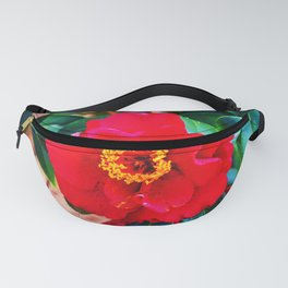 Rich Red Camellia Fanny Pack