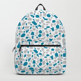 Terrazzo in Peacock Blue and Gray on White Backpack