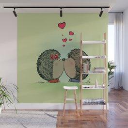 Hedgehogs in love Wall Mural