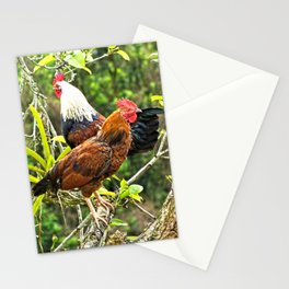 Roosters Chickens Fowl Birds Perching on tree Stationery Cards