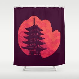 Pagoda Sunset Shower Curtain