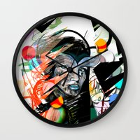 mask Wall Clocks featuring Mask  by Irmak Akcadogan