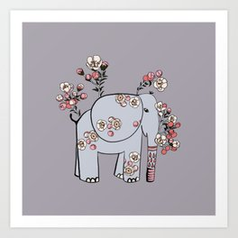 Elephant with Cherry Blossoms Art Print
