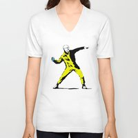 banksy V-neck T-shirts featuring Breaking Banksy by IF ONLY