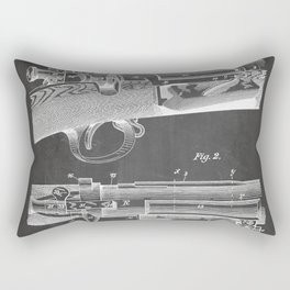 Bolt Action Rifle Patent - Repeating Receiver Art - Black Chalkboard Rectangular Pillow