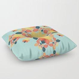 Orange Garden Pattern Floor Pillow