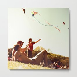 Kiteflying and Relaxing Metal Print