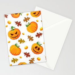 October Halloween halloween pumpkin oak sweets white Stationery Cards