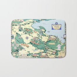WELLESLEY College map MASSACHUSETTS dorm decor graduate Bath Mat