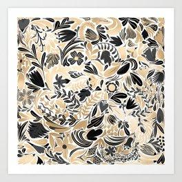 Gold Black Floral Leaves Illustration Pattern Art Print
