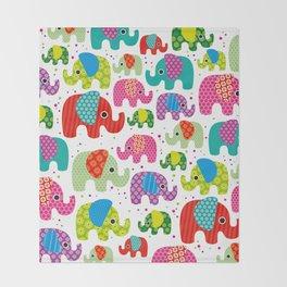 Colorful india elephant kids illustration pattern Throw Blanket