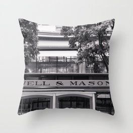 San Francisco Cable Car Black and White Throw Pillow
