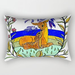 Doe And Fawn In Wildflowers Rectangular Pillow