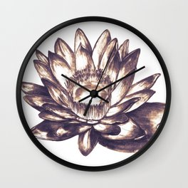 Lilly loto flower draw Wall Clock
