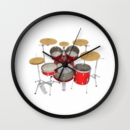 Red Drum Kit Wall Clock