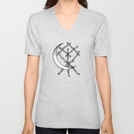 Crescent Moon Rune Binding Unisex V-Neck