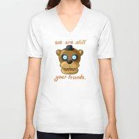 fnaf V-neck T-shirts featuring FNAF Freddy Fazbear by Bloo McDoodle