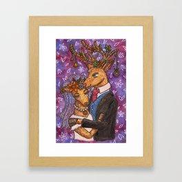 Deer Wedding Bride Groom Couple Framed Art Print