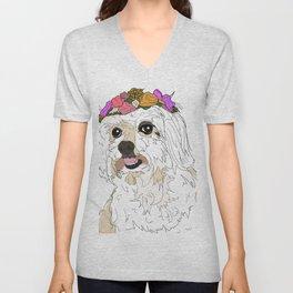 Maltese Dog with flowers Unisex V-Neck