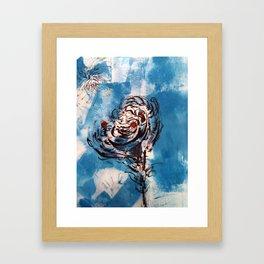 Blue Rose Mono Print Framed Art Print