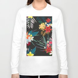 Frangipani, lily palm leaves tropical vibrant colored trendy summer pattern black background Long Sleeve T-shirt