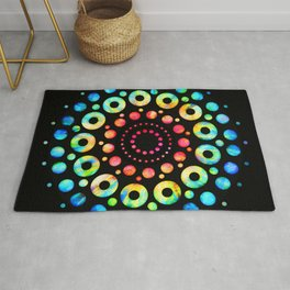 Multi-Color Mandala Tie-Dye Circle Shapes Rug