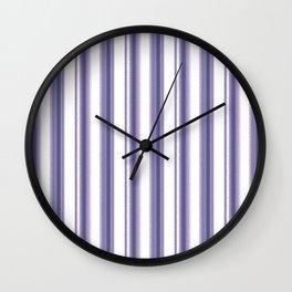 Purple, white striped pattern. Wall Clock