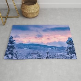 Deep Powder Trees // Fire Orange and Blue Sunset in the Rockies Rug