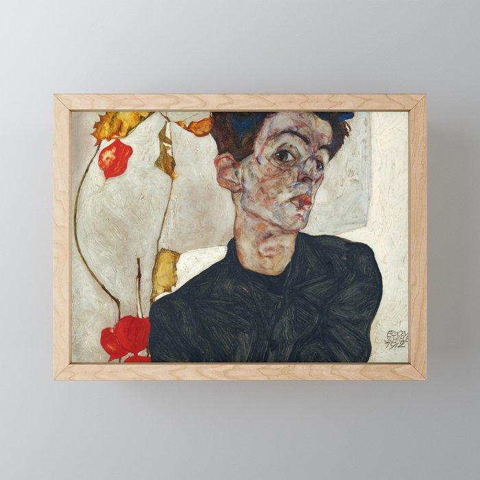 "Egon Schiele ""Self-Portrait with Physalis"" Framed Mini Art Print"