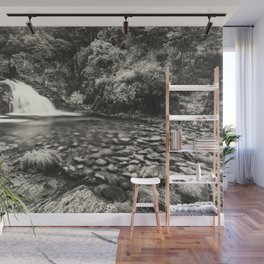 Black and white waterfall in the forest Wall Mural