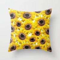 sunflowers Throw Pillows featuring Sunflowers by Regan's World