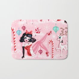 Christmas Pinup Girl with Reindeer Bath Mat
