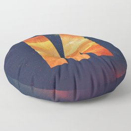 Fire Space Galaxy Initial Monogram Letter M Floor Pillow