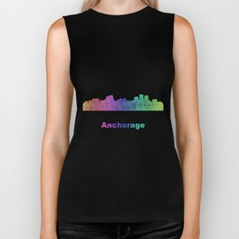 Rainbow Anchorage skyline Biker Tank