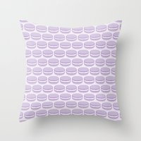 macaroon Throw Pillows featuring Purple Macaroon Pattern - Lavender Macaron by French Macaron Art Print and Decor Store