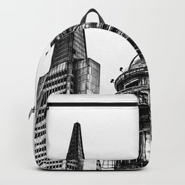 pyramid building and vintage style building at San Francisco, USA in black and white Backpack