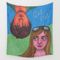 paper towns Wall Tapestries featuring Paper Towns by Anna Gogoleva