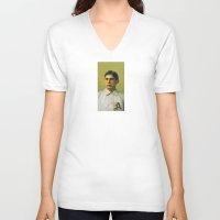 bender V-neck T-shirts featuring Baseball Vintage Bender by Art Lahr