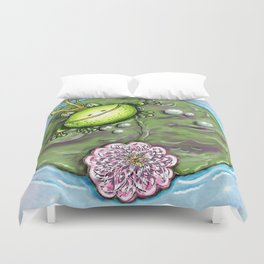 Frog Prince on His Lily Pad Duvet Cover