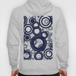 Contemporary Circles Modern Geometric Pattern in Navy Blue and White Hoody