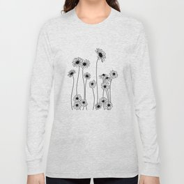 Minimal line drawing of daisy flowers Long Sleeve T-shirt