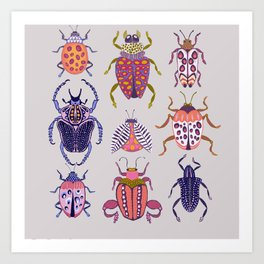 Assorted Beetles Art Print