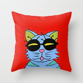 cat with glasses Throw Pillow