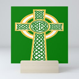 St Patrick's Day Celtic Cross White and Green Mini Art Print
