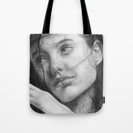 Angelina Jolie Traditional Portrait Print Tote Bag