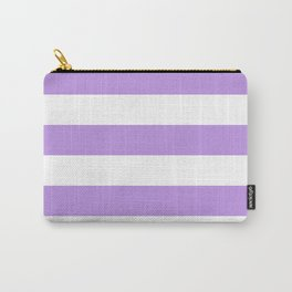 Horizontal Stripes - White and Light Violet Carry-All Pouch