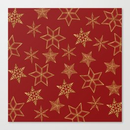 Snowflakes Red And Gold Canvas Print
