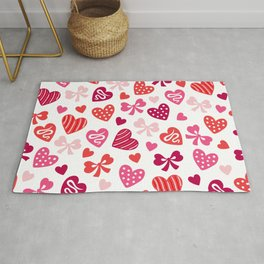 Valentine Hearts and Red Bows Rug