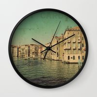 postcard Wall Clocks featuring Venice postcard by Sylvia Cook Photography